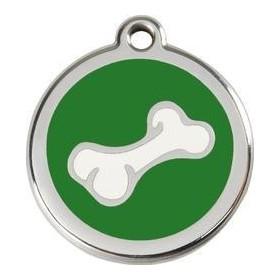 Nerezová id známka se jménem Red Dingo - kost zelená