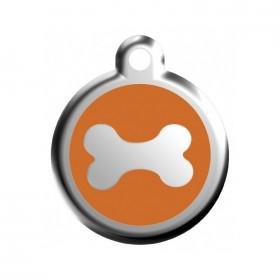 Nerezová psí známka Red Dingo se jménem - kost oranžová