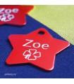 Červená hvězda - identifikační známka pro psa s rytím jména a telefonu