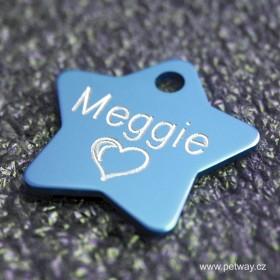 Světle modrý přívěsek na psí obojek se jménem a telefonem - hvězda