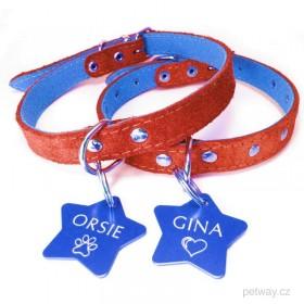 Modrá psí tagiska s gravírováním na míru ve tvaru hvězdy