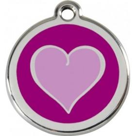 Nejmenší tagiska pro psa Red Dingo se jménem a telefonem - fialové srdce