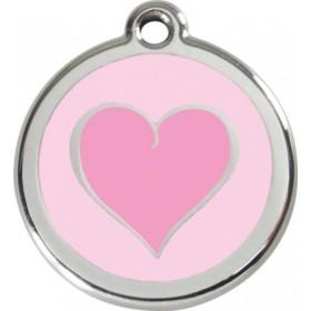 Nejmenší id přívěsek s rytím na obojek Red Dingo - růžové srdce