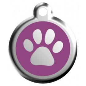 Fialová psí známka s tlapkou Red Dingo s gravírováním jména a telefonu