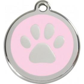 Světle růžová tlapka na nerezové psí známce pro malá a trpasličí plemena