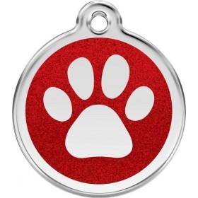 Středně velká známka pro psa Red Dingo s gravírováním - třpytivá červená tlapka