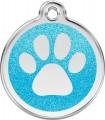 Střední známka pro psa  Red Dingo - třpytivá modrá tlapka