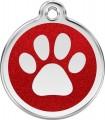 Velká psí známka pro psa  Red Dingo - třpytivá červená tlapka