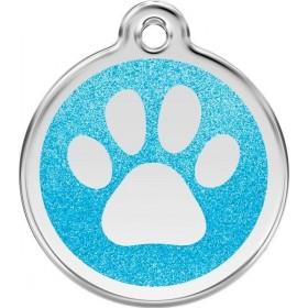Velká identifikační psí známka pro psa  Red Dingo - třpytivá modrá tlapka