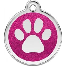 Velká ID psí známka pro psa Red Dingo - třpytivá růžová tlapka