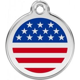Středně velká 30 mm nerezová známka na obojek se jménem Red Dingo se symbolem USA