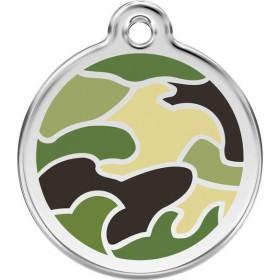 Středně velká vojenská identifikační známka pro psy Red Dingo - zelená vojenská kamufláž