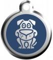 Velký přívěsek na psí obojek se jménem Red Dingo - vzor pes modrý