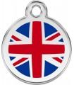 Velká nerezová tagiska Red Dingo se symbolem Great Britain na psí obojek s rytím jména, telefonu či adresy majitele.