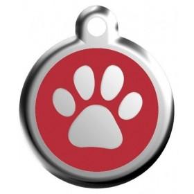 Velký červený štítek k obojku Red Dingo se symbolem tlapky a gravírováním na míru
