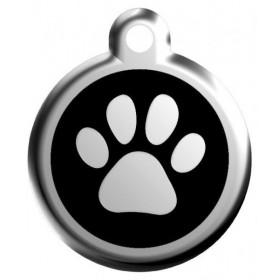 Velká psí známka s rytím pro velká a obří plemena Red Dingo - tlapka černá