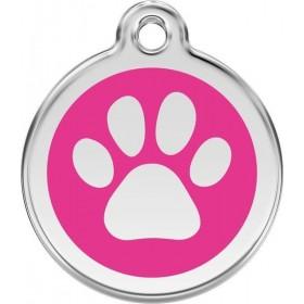 Identifikační známka růžová tlapka pro velké psy s gravírováním na míru