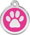 Velká známka pro psa Red Dingo - tlapka růžová