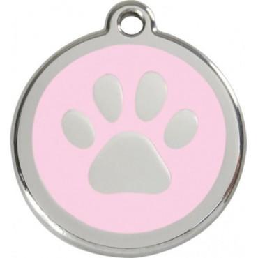 Velká známka pro psa Red Dingo - tlapka světle růžová