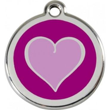 Velká známka pro psa  Red Dingo - srdce fialové