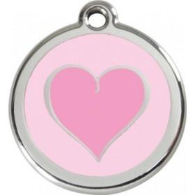 Velká známka pro psa  Red Dingo - srdce růžové
