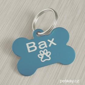 Světle modrý přívěsek na psí obojek s kvalitním gravírováním identifikačních údajů na přání