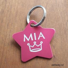 Růžová identifikační známka pro psa s gravírováním na přání