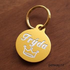 Zlatá psí známka pro malého pejska s rytím jména