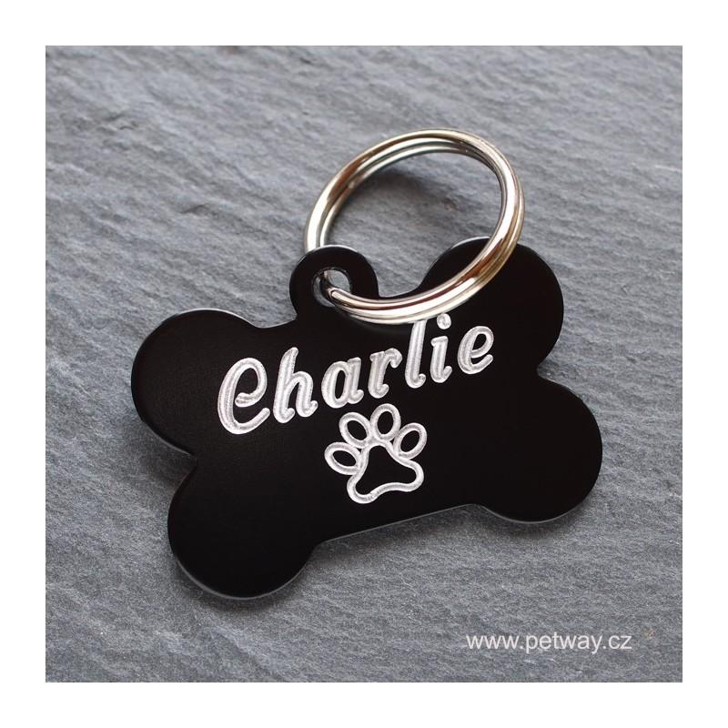 Černá hliníková identifikační psí známka a gravírování jména, telefonu a adresy