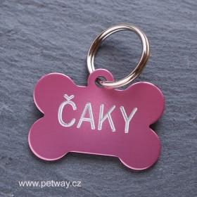 Růžová psí známka s gravírováním textu a telefonu