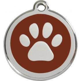Identifikační přívěsek s gravírováním na psí obojek pro psa  Red Dingo - tlapka hnědá