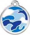 Malá známka pro psa Red Dingo - modrá vojenská kamufláž