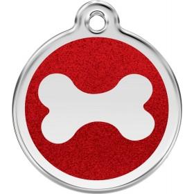 Malá třpytivá psí známka s rytím pro psa Red Dingo - třpytivá červená kostička