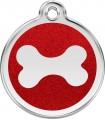 Velká psí známka pro psa  Red Dingo - třpytivá červená kost
