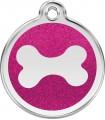 Střední známka pro psa Red Dingo - třpytivá růžová kost