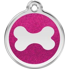 Velká ID psí známka pro psa Red Dingo - třpytivá růžová kostička