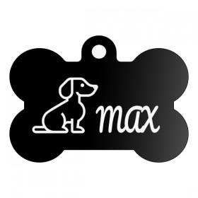 Originální známka pro psa ve tvaru kostičky s gravírováním vlastního návrhu na stránce produktu
