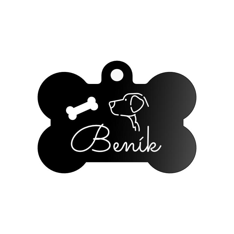 Černá psí známka pro malého i velkého psa s rytím na míru.