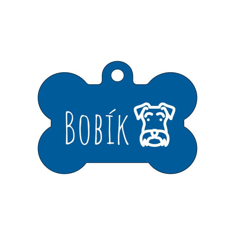 Modrá ID známka pro malého i velkého psa s gravírováním dle Vašeho návrhu na míru.