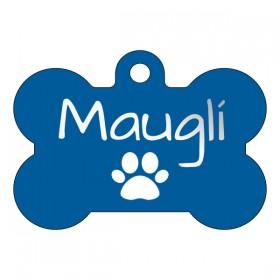 Modrá hliníková psí známka pro malého i velkého psa s gravírováním dle Vašeho designu na míru.