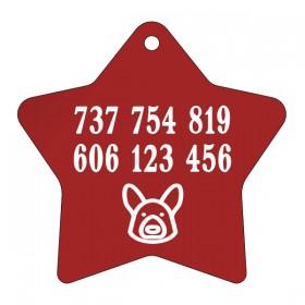 Červená psí známka s rytinou dle vlastního návrhu, který si sami vytvoříte na eshopu www.petway.cz