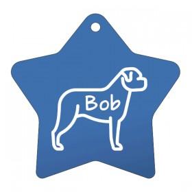 Modrá psí známka pro psa a gravírování kontaktních údajů na psí známku pro středně velkého a velkého psa dle vlastního návrhu.