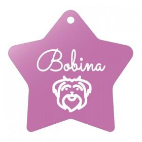 Růžová psí známka hvězda s rytím vlastního návrhu