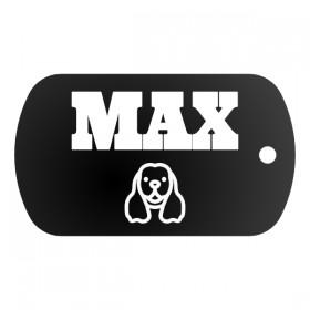 Vojenská psí známka se jménem, textem a grafikou z nabídky nebo vlastní, nahranou z mobilu a PC.