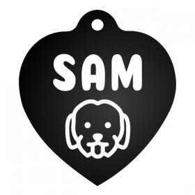 Černá ID známka pro psy srdce s gravírováním