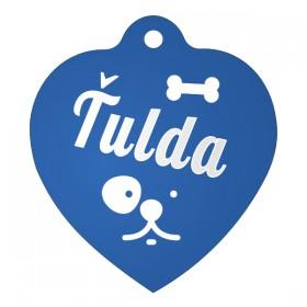 Modrá psí známka ve tvaru srdce s rytinou, kterou si můžete navrhnout na stránce produktu