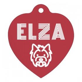 Červené srdce s gravírováním dle vlastního návrhu ke psí známka pro malé i větší psy.