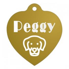 Zlatá ID známka pro psy s gravírováním jména, textu a vlastní grafiky na přání
