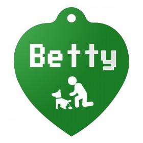 Zelená identifikační psí známka ve tvaru srdce s gravírováním jména a obrázku na přání