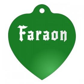 Zelená ID psí známka pro psa ve tvaru srdce s gravírováním jména a obrázku na přání